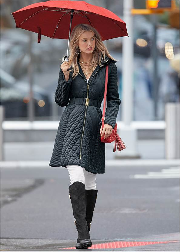 Long Puffer Coat,Basic Cami Two Pack,Mid Rise Color Skinny Jeans,Layered Coin Detail Choker,Stud Detail Crossbody