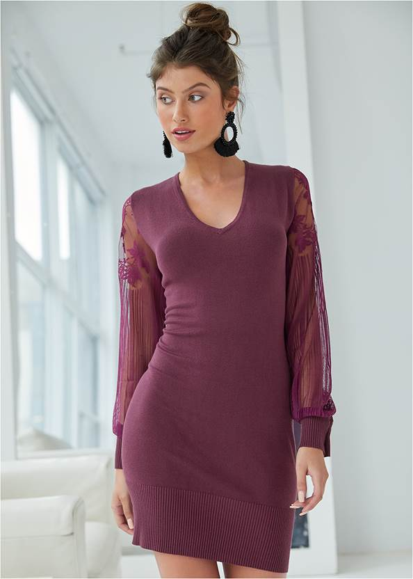 Sleeve Detail Sweater Dress,Beaded Tassel Earrings