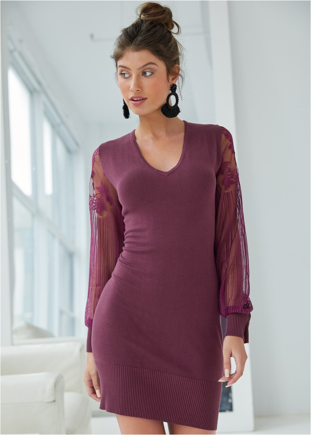 Sleeve Detail Sweater Dress,Kissable Convertible Bra,Beaded Tassel Earrings
