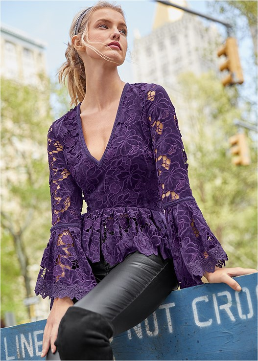 VELVET LACE BELL SLEEVE TOP,SLIMMING STRETCH JEGGINGS,KISSABLE STRAPPY PUSH UP,CUT OUT DETAIL BOOTS,EMBELLISHED HEELS,EMBELLISHED HEADBAND