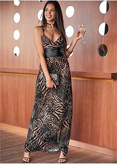 faux leather waist dress