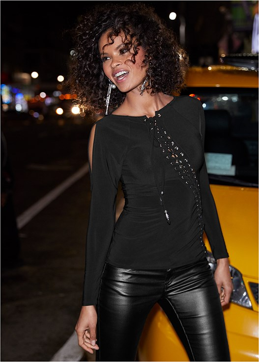 LACE UP COLD SHOULDER TOP,FAUX LEATHER PANTS,SMOOTH LONGLINE PUSH UP BRA,CUT OUT DETAIL HEELS,FRINGE DETAIL HEEL,RHINESTONE HOOP EARRINGS