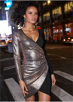 foil bodycon dress