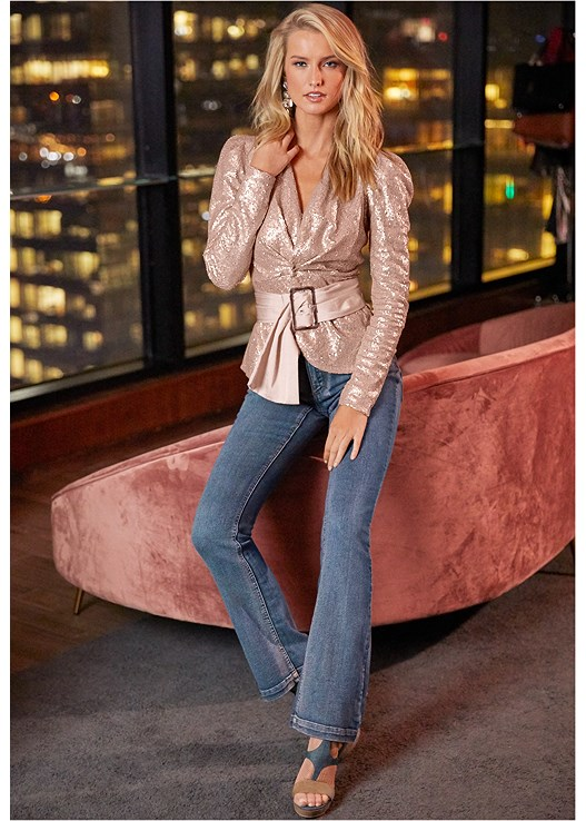 BELTED SEQUIN TOP,CASUAL BOOT CUT JEANS,SLIMMING STRETCH JEGGINGS,CUPID BACKLESS U PLUNGE BRA,LUCITE DETAIL HEELS,EMBELLISHED DROP EARRINGS,RHINESTONE DETAIL HOOPS