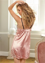Cropped back view Lace Detail Satin Chemise