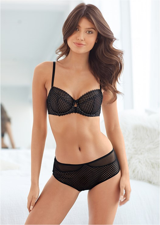 MID RISE BRIEFS,UNLINED GEO LACE BRA