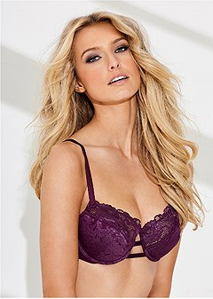 lurex lace detail bra