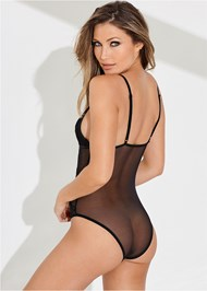 Cropped back view Sheer Strapped Up Bodysuit