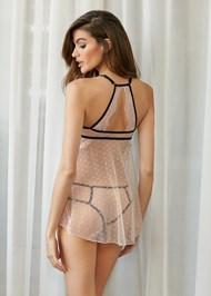 Cropped back view Dot Mesh And Lace Babydoll
