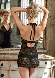 Back View Satin Lace Halter Chemise