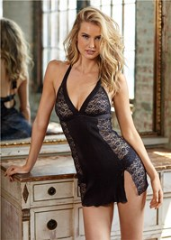 Front View Satin Lace Halter Chemise