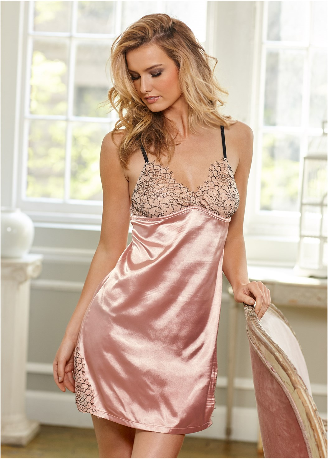 Lace Detail Satin Chemise,High Heel Strappy Sandals