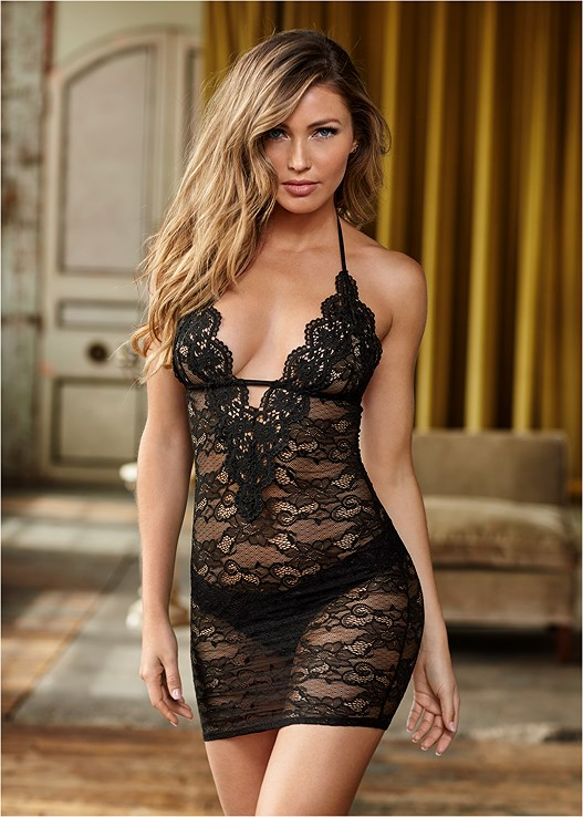 DEEP V LACE CHEMISE,LACE THONG 3 FOR $19,REVERSIBLE LACE BODYSUIT