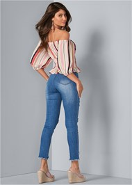 Full back view Off The Shoulder Stripe Top