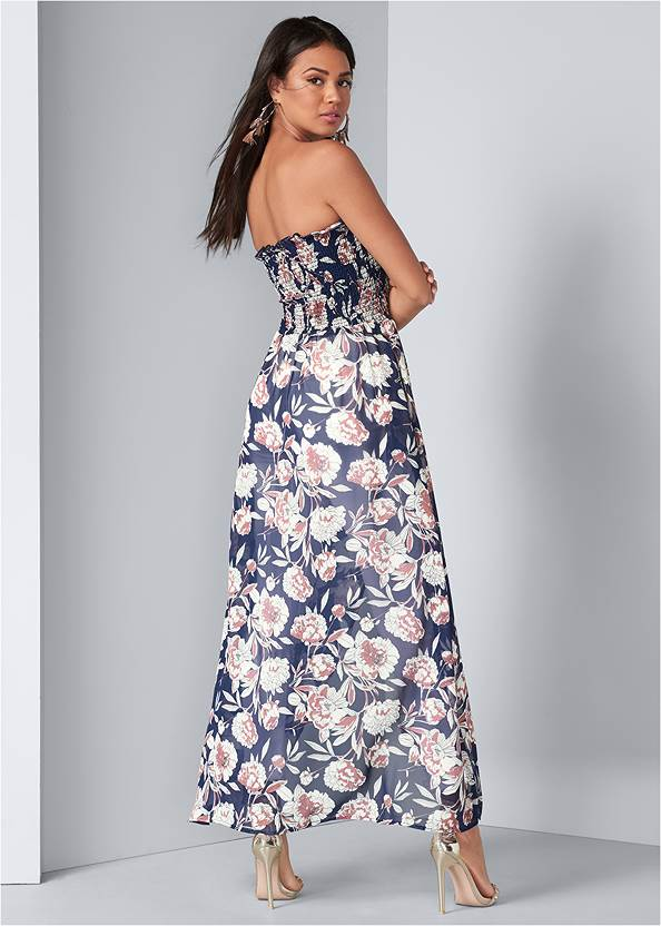 Full back view Smocked Floral High Low Top