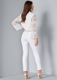 Back View Lace Sleeve Cropped Jacket
