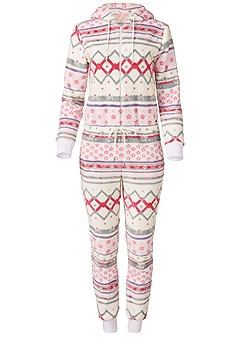 plus size printed sleep jumpsuit