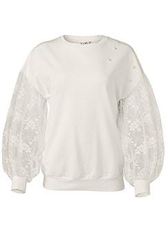 plus size lace sleeve sweatshirt