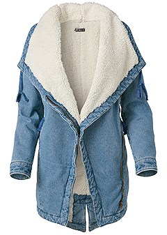 plus size fleece lined denim coat