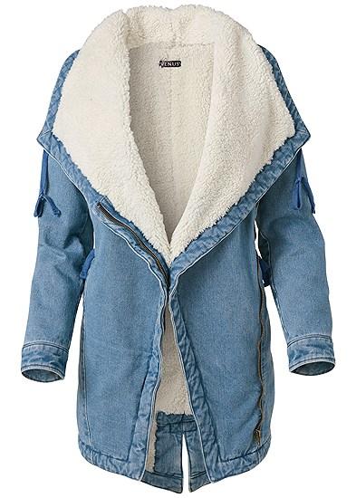 Plus Size Fleece Lined Denim Coat
