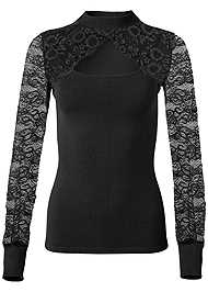 Front View Cut Out Lace Sweater