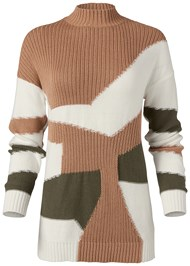Alternate View Patchwork Mock Neck Sweater