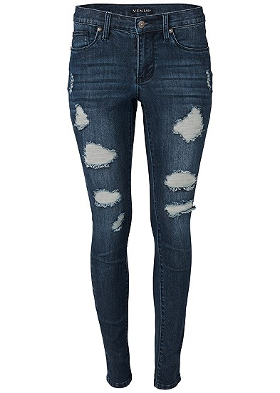 Plus Size Ripped Bum Lifter Jeans