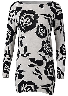 plus size floral tunic sweater
