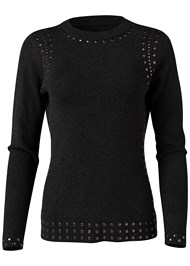 Front View Stud Trim Sweater