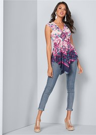 Full front view Embellished Print Top