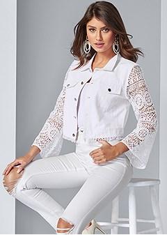lace sleeve cropped jacket