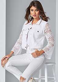 Cropped front view Lace Sleeve Cropped Jacket