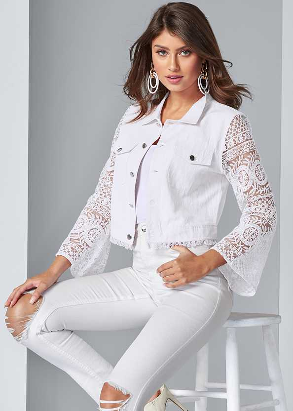 Lace Sleeve Cropped Jacket,Basic Cami Two Pack,Color Block Hoop Earrings