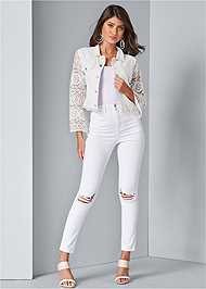 Full front view Lace Sleeve Cropped Jacket
