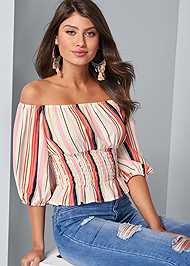 Cropped front view Off The Shoulder Stripe Top