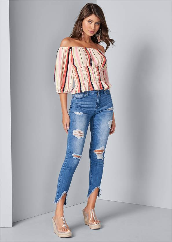 Full front view Off The Shoulder Stripe Top