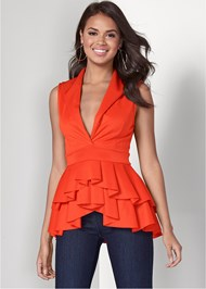 Cropped front view Tiered Detail Top