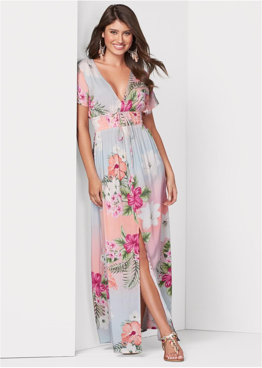 Floral Maxi Dress,Embellished Rope Sandals,Tassel Detail Hoop Earrings,Oversized Tassel Earrings,Circular Straw Bag
