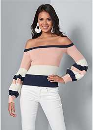 Cropped front view Off Shoulder Sweater