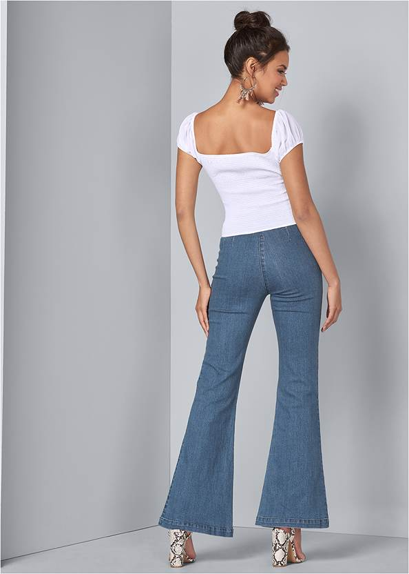 Full back view Square Neck Lace Up Top