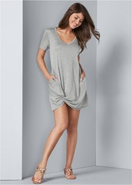 Full front view Knotted Casual Dress