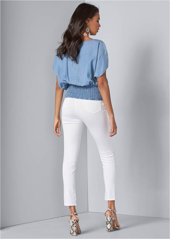Full back view Tie Front Chambray Top