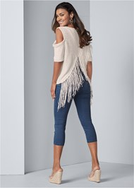 Full back view Cross Back Fringe Sweater