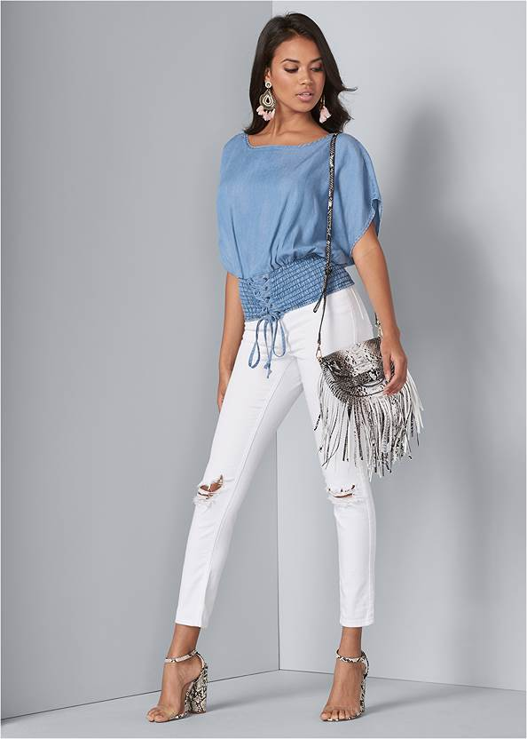 Full front view Tie Front Chambray Top