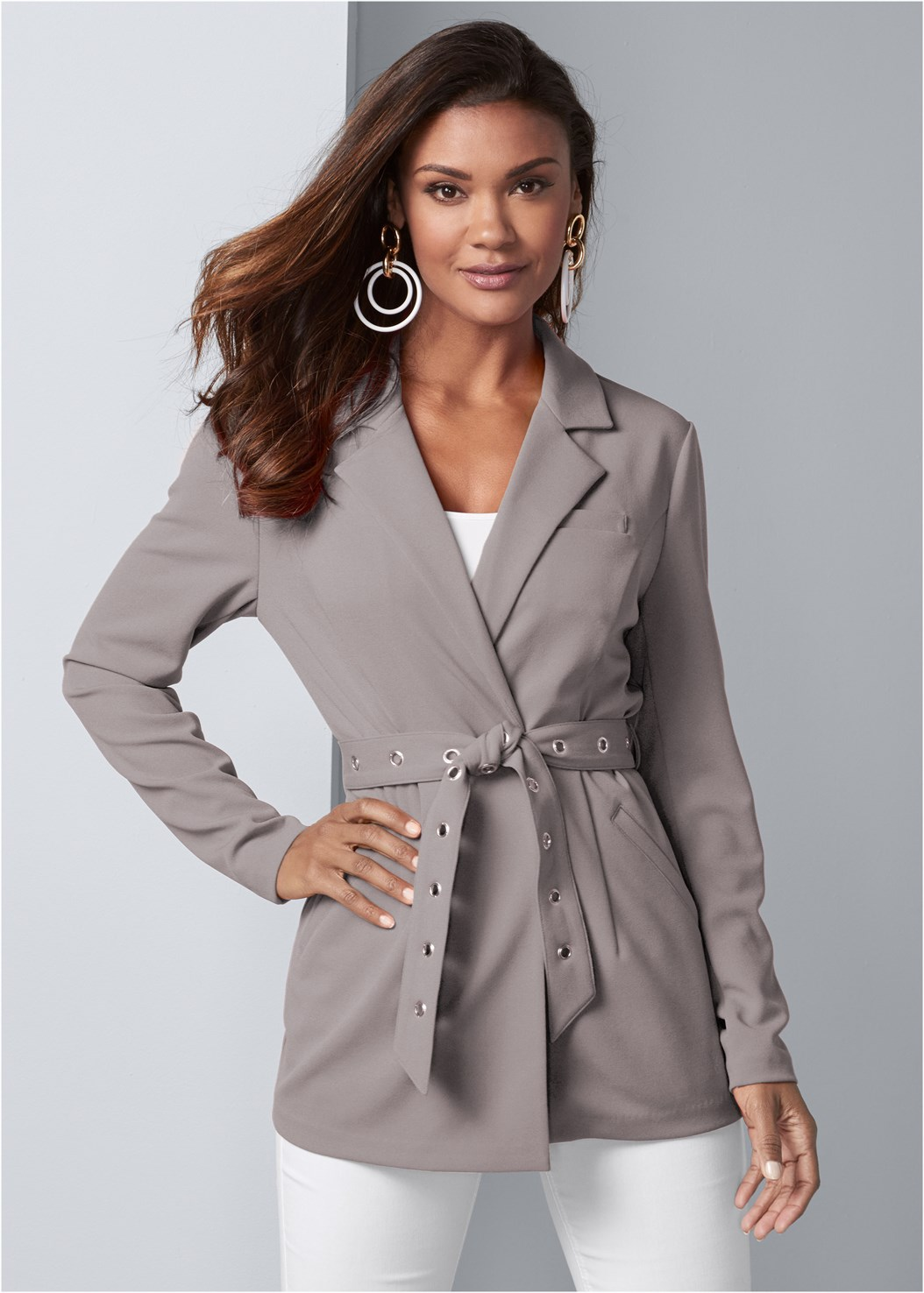 Belted Longline Blazer,Basic Cami Two Pack,Mid Rise Slimming Stretch Jeggings,Color Block Hoop Earrings