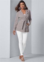 Full front view Belted Longline Blazer