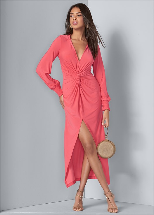 MAXI SHIRT DRESS,FULL FIGURE STRAPLESS BRA,TRANSPARENT STUDDED HEELS,EMBELLISHED LUCITE HEEL,PALM TREE EARRINGS,RING HANDLE CIRCLE CLUTCH