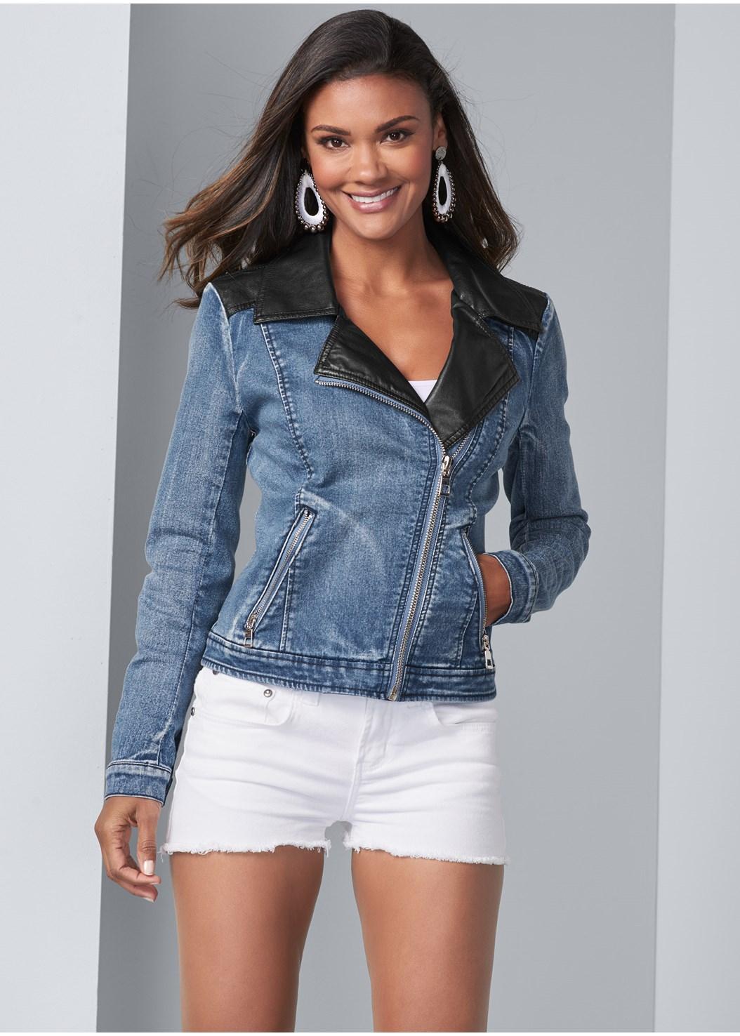 Mixed Media Moto Jacket,Basic Cami Two Pack,Frayed Cut Off Jean Shorts,Studded Belt Bag