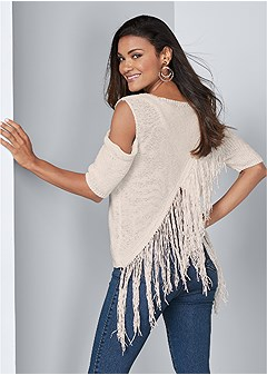 cross back fringe sweater
