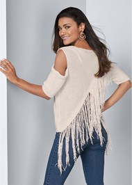 Cropped back view Cross Back Fringe Sweater